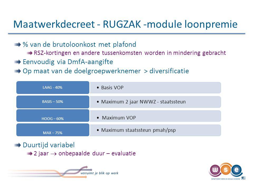 Maatwerkdecreet - RUGZAK -module loonpremie