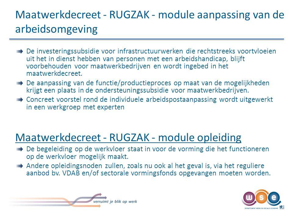 Maatwerkdecreet - RUGZAK - module aanpassing van de arbeidsomgeving