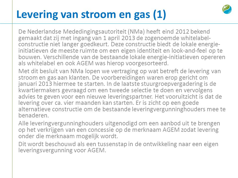 Levering van stroom en gas (1)