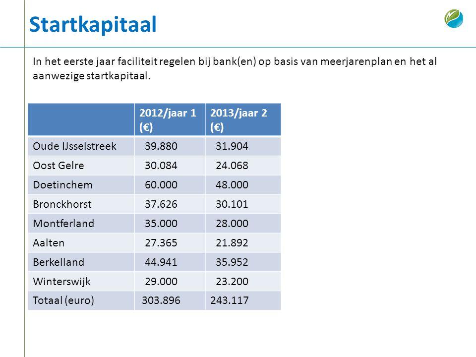 Startkapitaal In het eerste jaar faciliteit regelen bij bank(en) op basis van meerjarenplan en het al aanwezige startkapitaal.