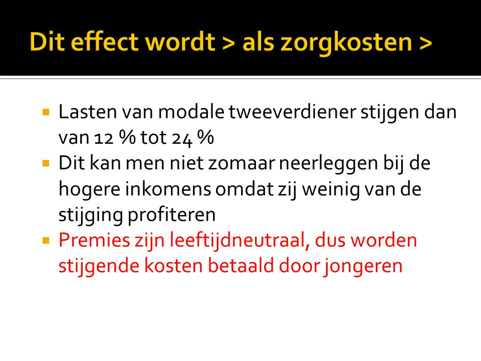 Dit effect wordt > als zorgkosten >