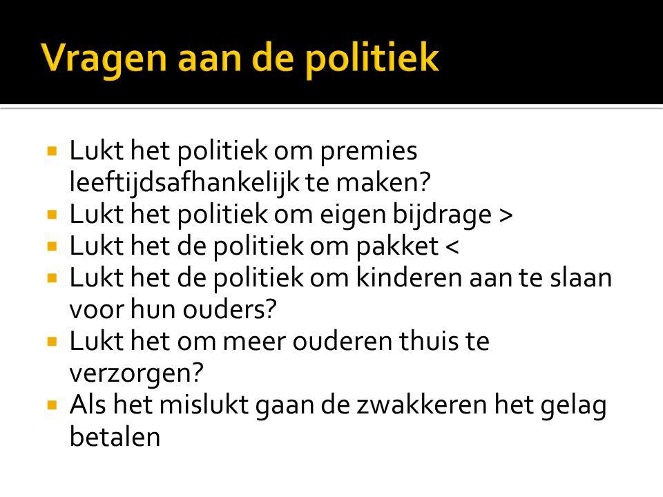 Vragen aan de politiek Lukt het politiek om premies leeftijdsafhankelijk te maken Lukt het politiek om eigen bijdrage >