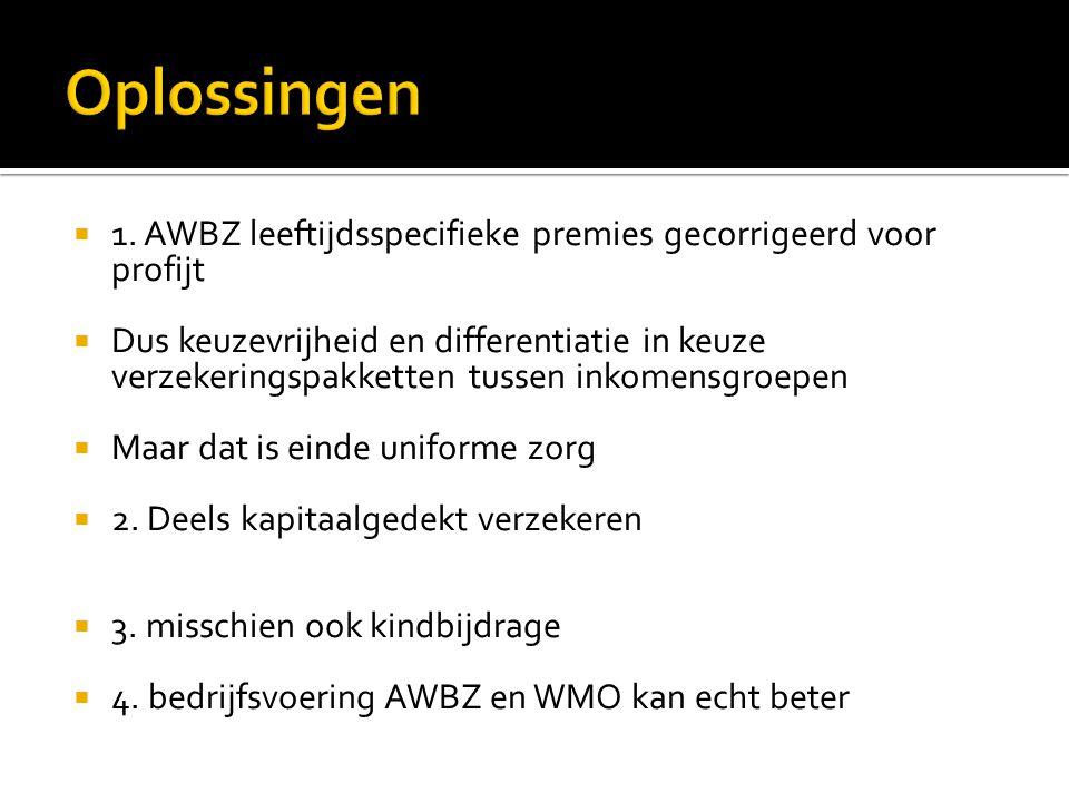 Oplossingen 1. AWBZ leeftijdsspecifieke premies gecorrigeerd voor profijt.