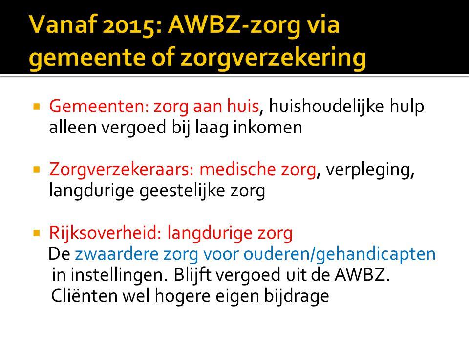 Vanaf 2015: AWBZ-zorg via gemeente of zorgverzekering