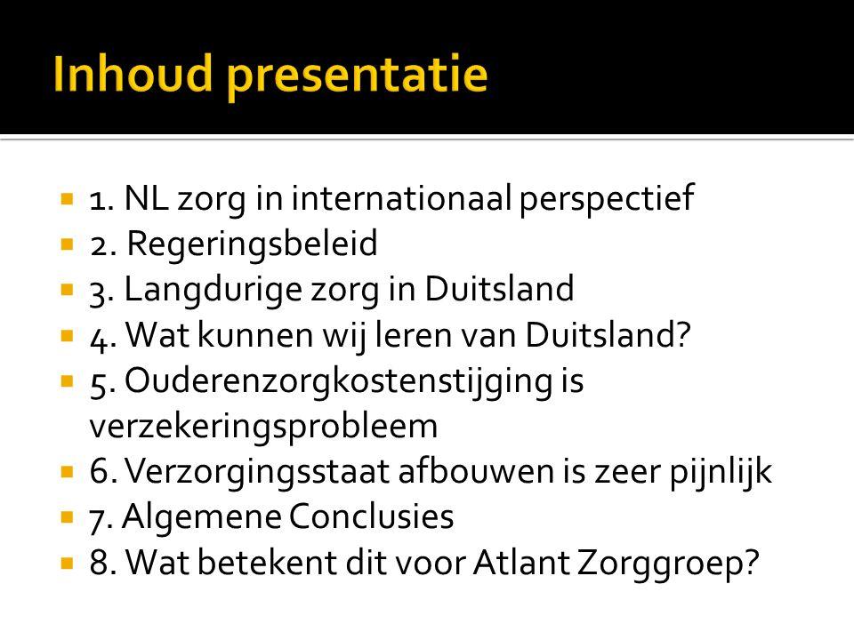 Inhoud presentatie 1. NL zorg in internationaal perspectief