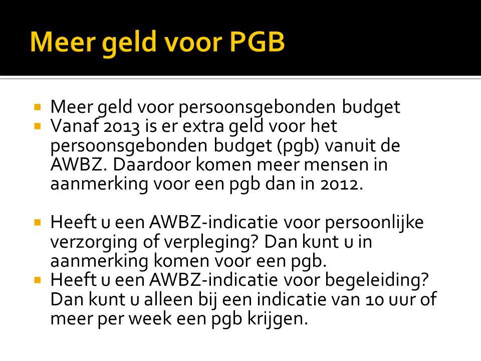 Meer geld voor PGB Meer geld voor persoonsgebonden budget