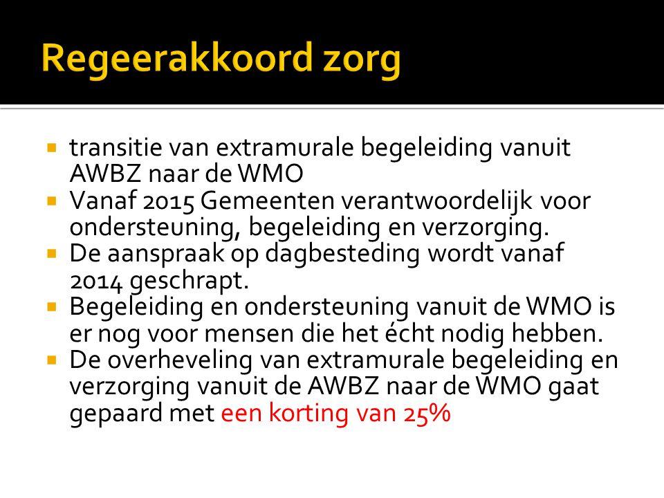 Regeerakkoord zorg transitie van extramurale begeleiding vanuit AWBZ naar de WMO.