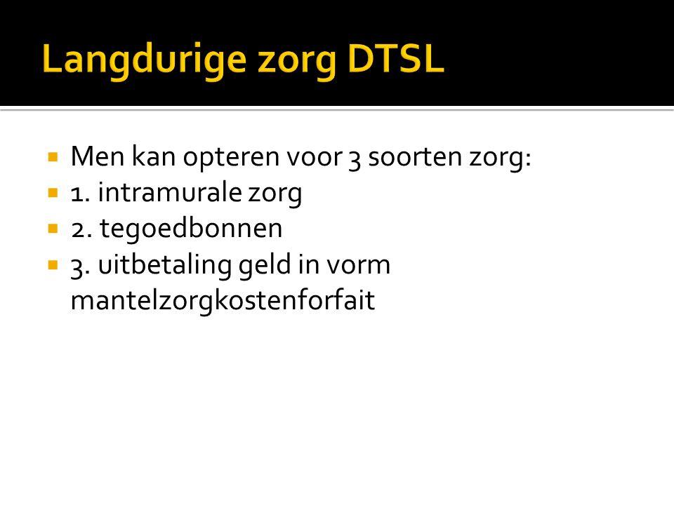 Langdurige zorg DTSL Men kan opteren voor 3 soorten zorg:
