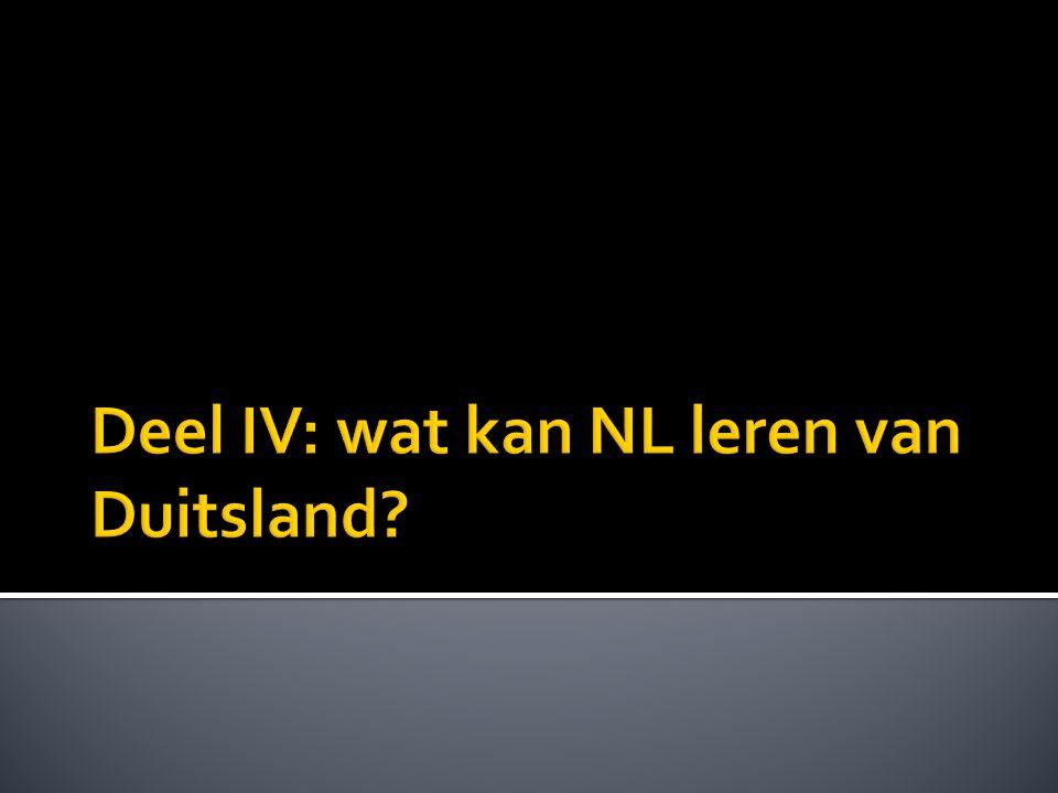 Deel IV: wat kan NL leren van Duitsland