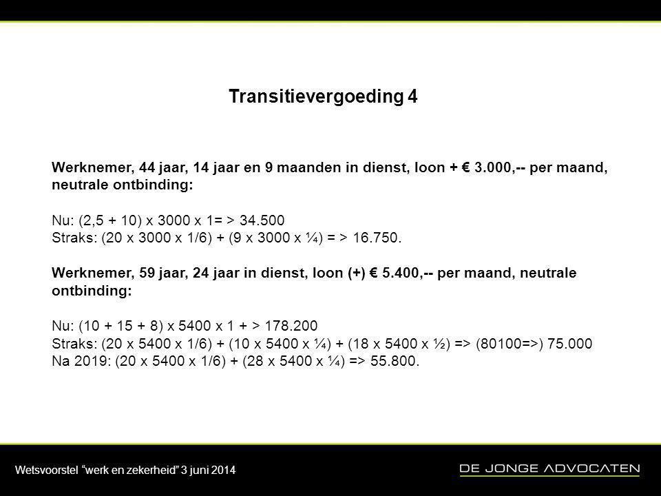 Transitievergoeding 4 Werknemer, 44 jaar, 14 jaar en 9 maanden in dienst, loon + € 3.000,-- per maand, neutrale ontbinding: