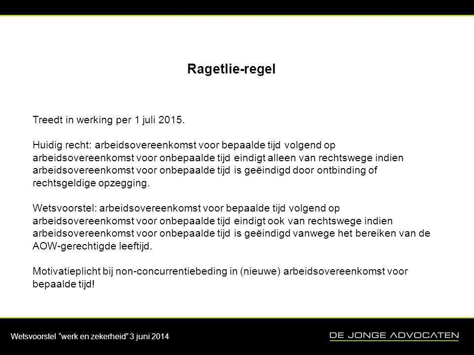 Ragetlie-regel Treedt in werking per 1 juli 2015.