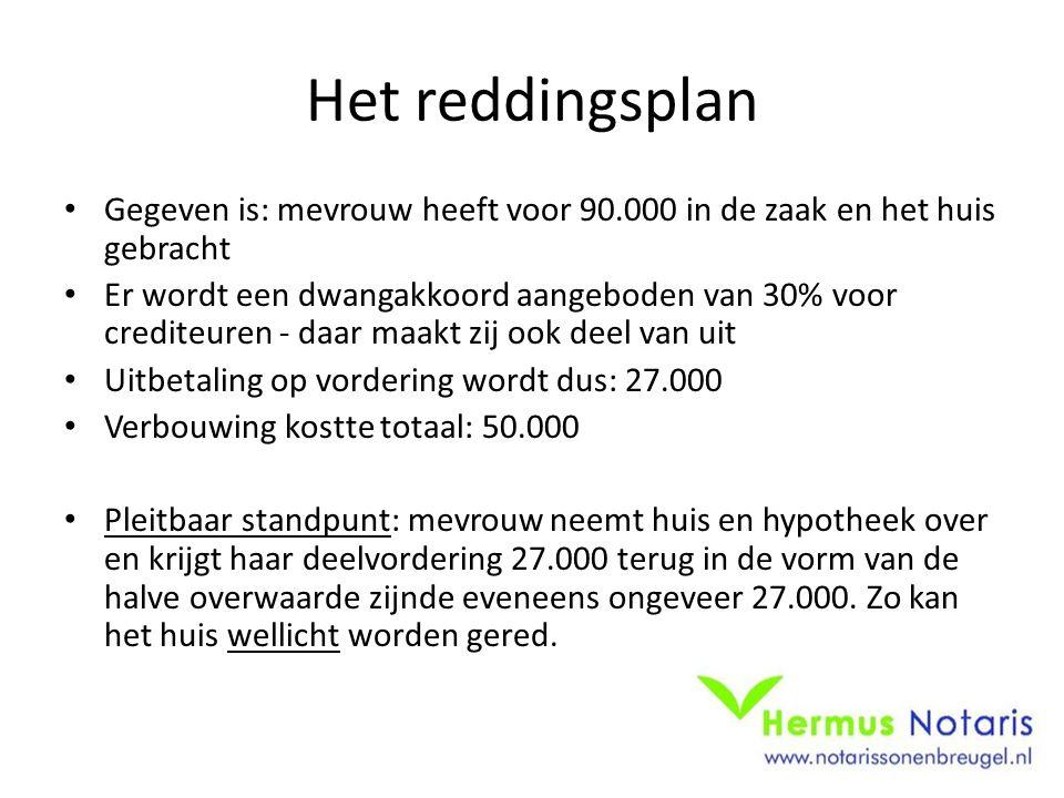 Het reddingsplan Gegeven is: mevrouw heeft voor 90.000 in de zaak en het huis gebracht.