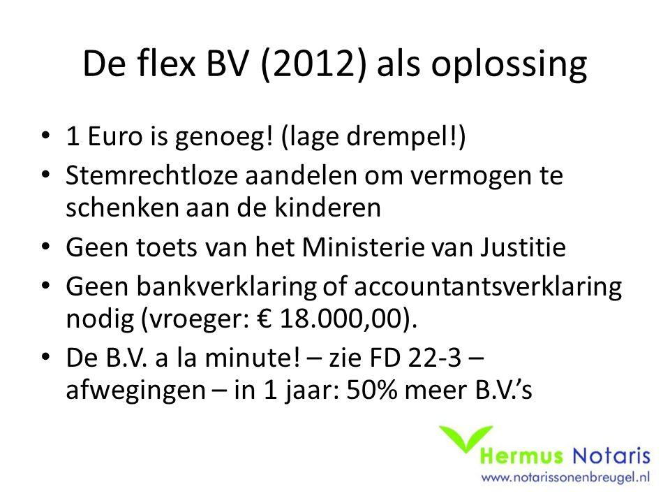 De flex BV (2012) als oplossing