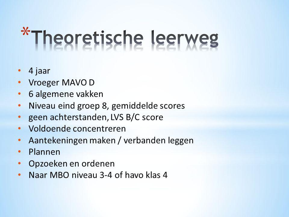 Theoretische leerweg 4 jaar Vroeger MAVO D 6 algemene vakken