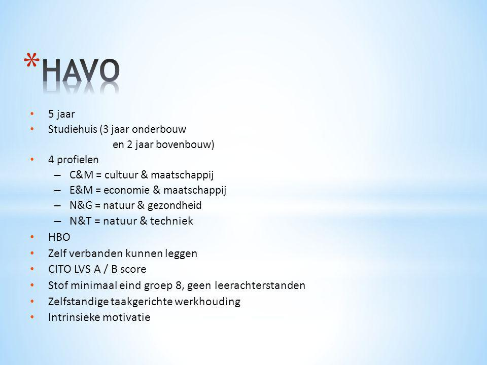 HAVO N&T = natuur & techniek HBO Zelf verbanden kunnen leggen