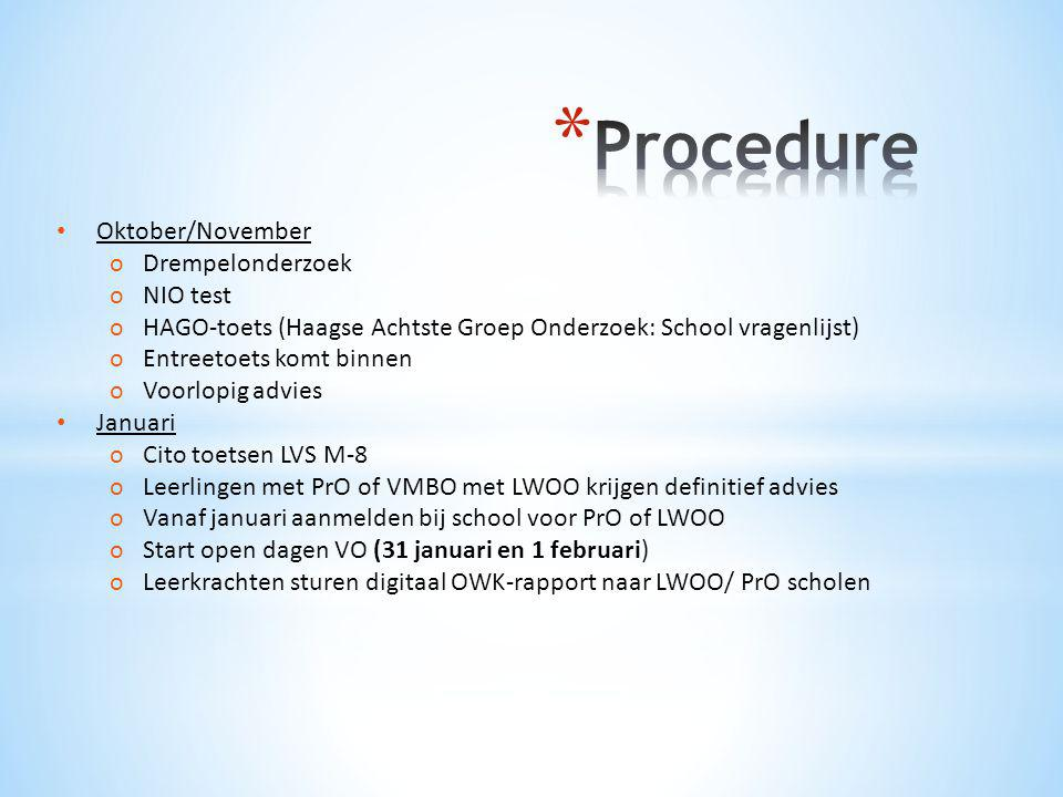Procedure Oktober/November Drempelonderzoek NIO test
