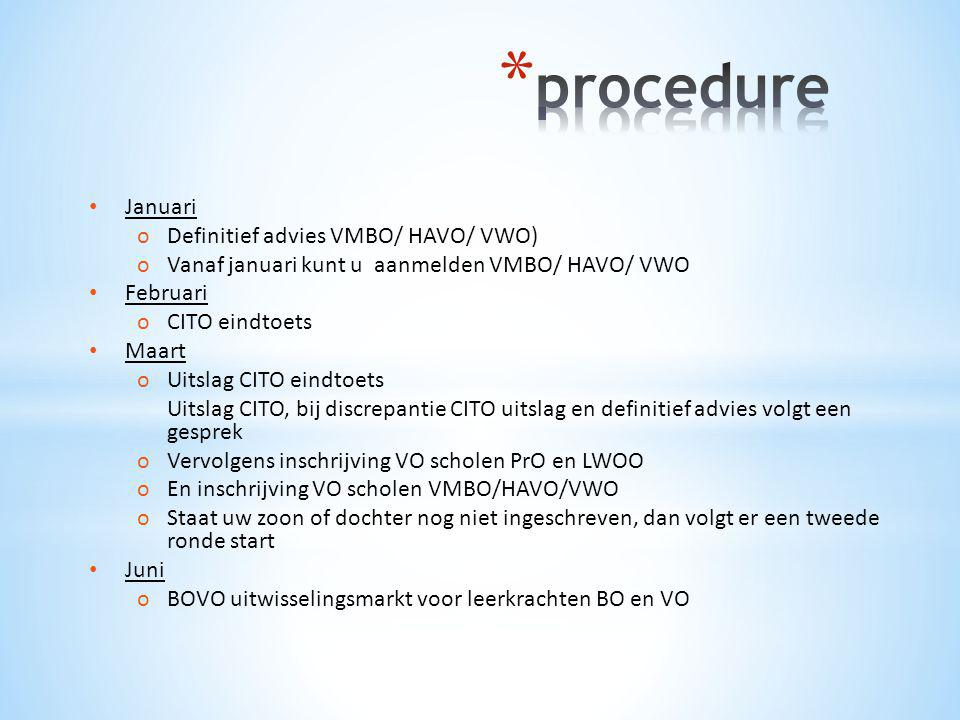 procedure Januari Definitief advies VMBO/ HAVO/ VWO)