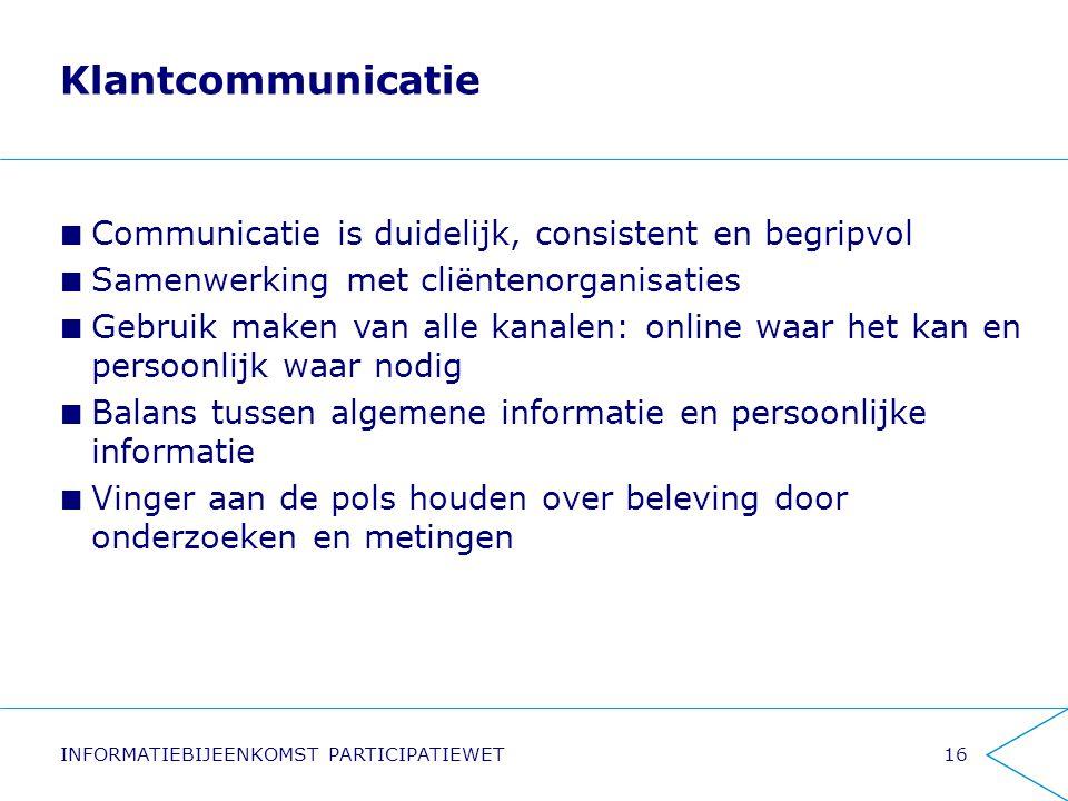 Klantcommunicatie Communicatie is duidelijk, consistent en begripvol