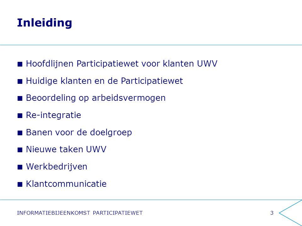 Inleiding Hoofdlijnen Participatiewet voor klanten UWV