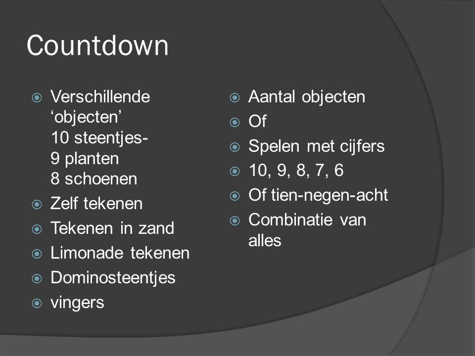 Countdown Verschillende 'objecten' 10 steentjes- 9 planten 8 schoenen