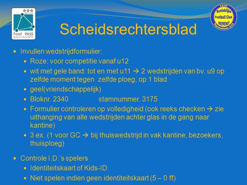 Scheidsrechtersblad Invullen wedstrijdformulier: