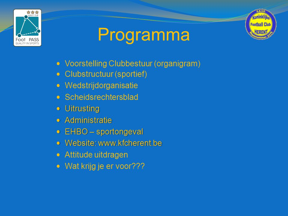 Programma Voorstelling Clubbestuur (organigram)