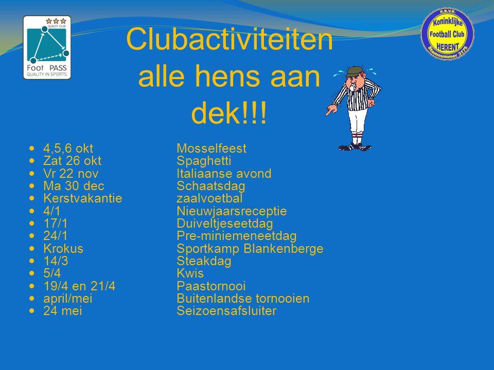 Clubactiviteiten alle hens aan dek!!!
