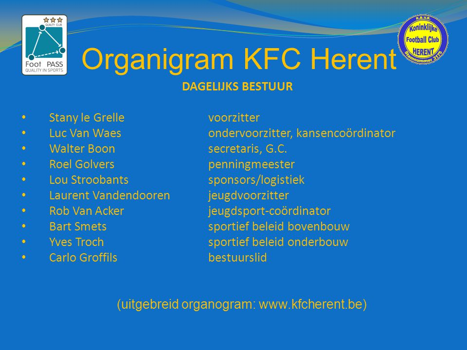 (uitgebreid organogram: www.kfcherent.be)