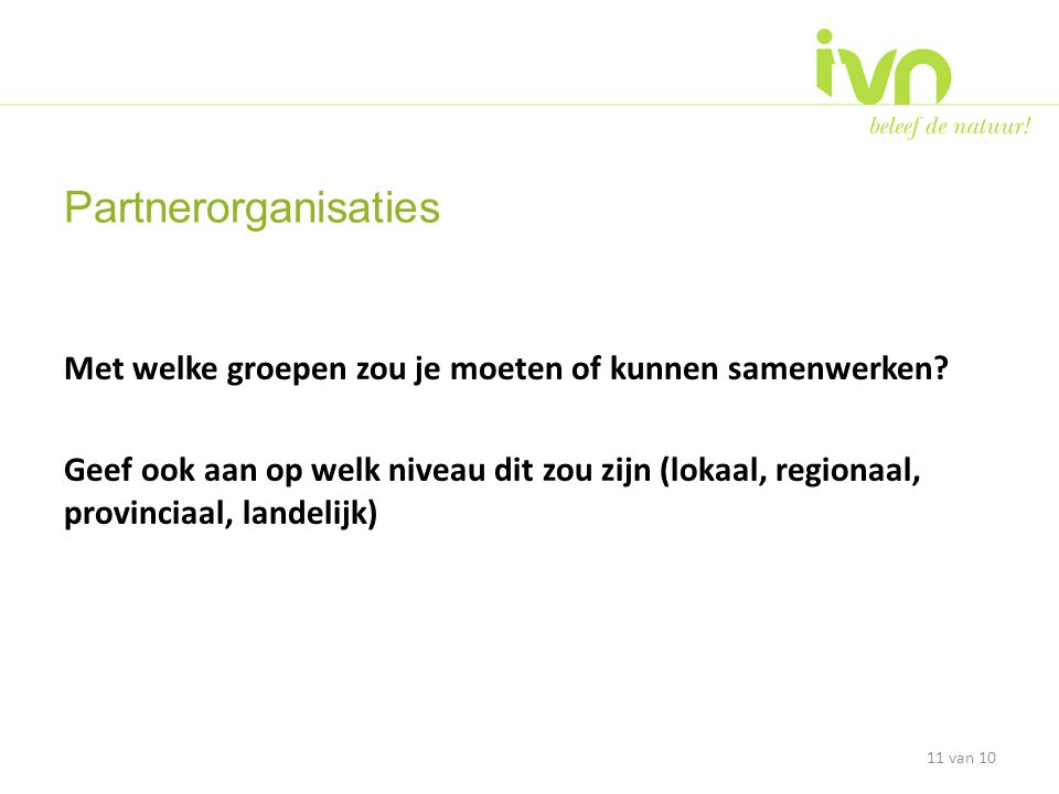 Partnerorganisaties