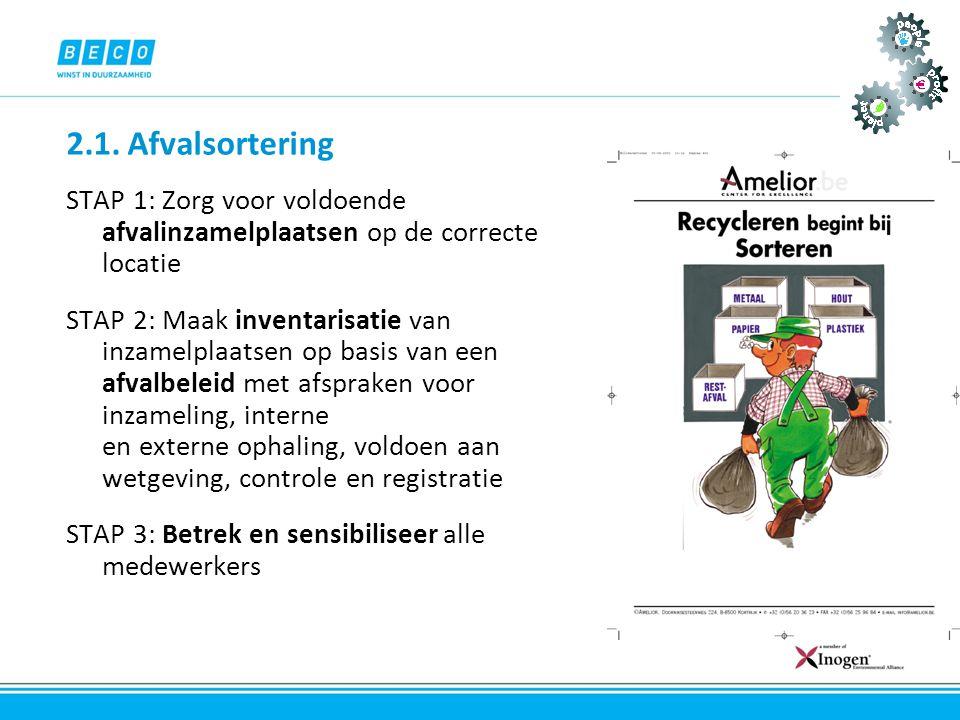 2.1. Afvalsortering STAP 1: Zorg voor voldoende afvalinzamelplaatsen op de correcte locatie.