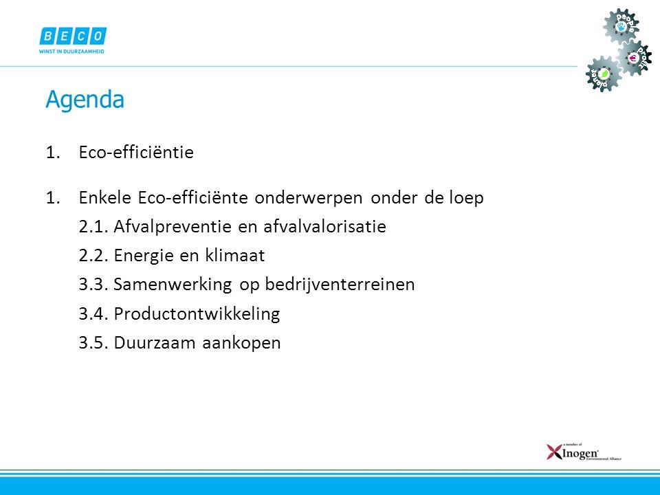 Agenda Eco-efficiëntie Enkele Eco-efficiënte onderwerpen onder de loep