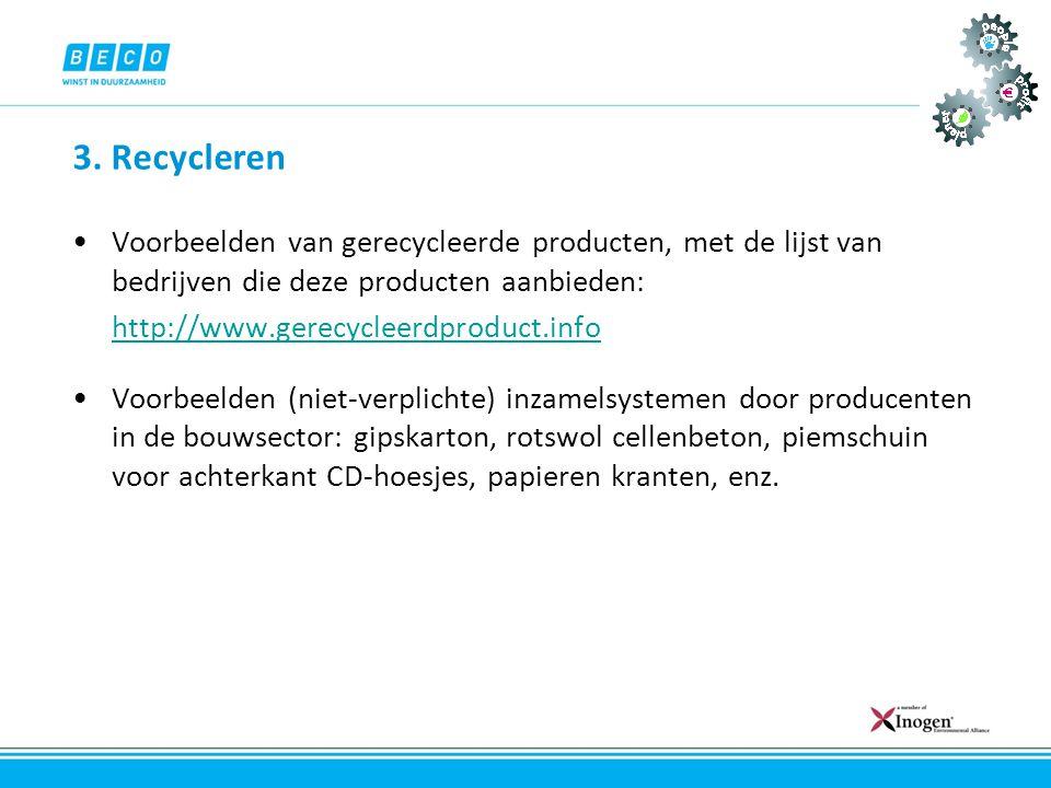 3. Recycleren Voorbeelden van gerecycleerde producten, met de lijst van bedrijven die deze producten aanbieden: