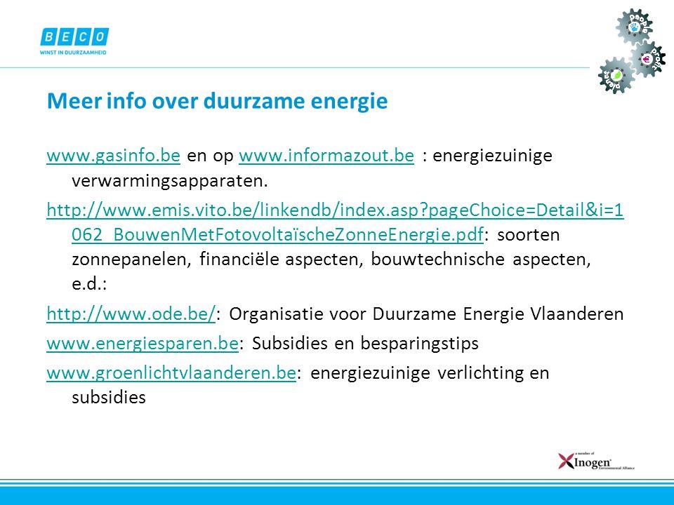 Meer info over duurzame energie