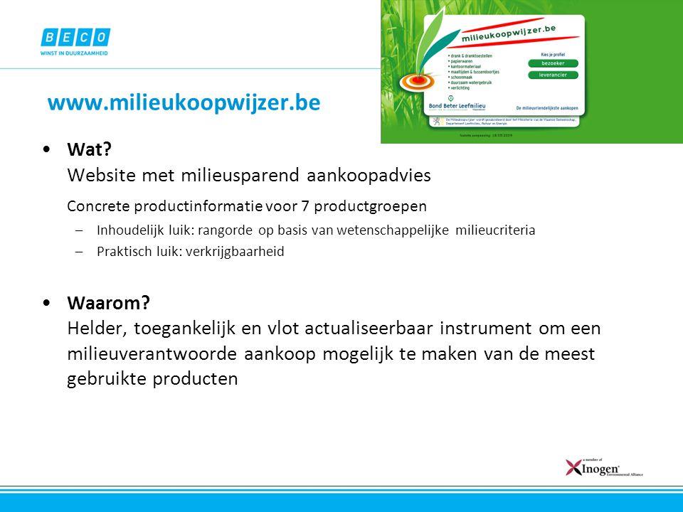 www.milieukoopwijzer.be Wat Website met milieusparend aankoopadvies