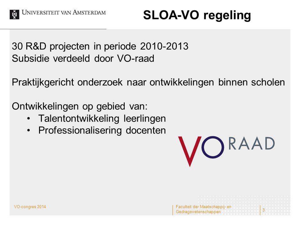 SLOA-VO regeling 30 R&D projecten in periode 2010-2013