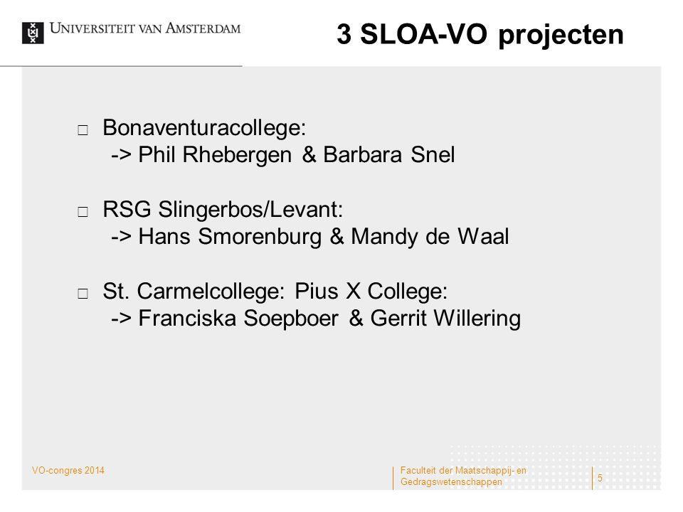 3 SLOA-VO projecten Bonaventuracollege: