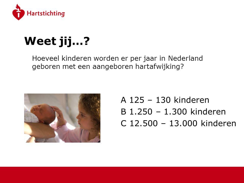 Weet jij… A 125 – 130 kinderen B 1.250 – 1.300 kinderen