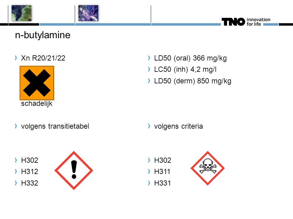 n-butylamine Xn R20/21/22 schadelijk volgens transitietabel H302 H312