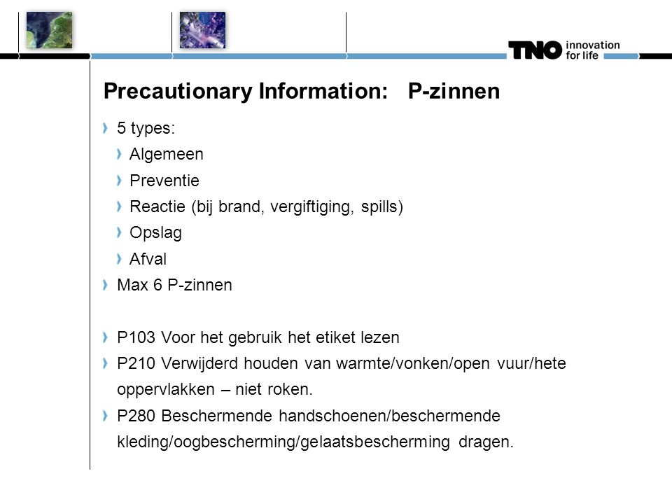 Precautionary Information: P-zinnen