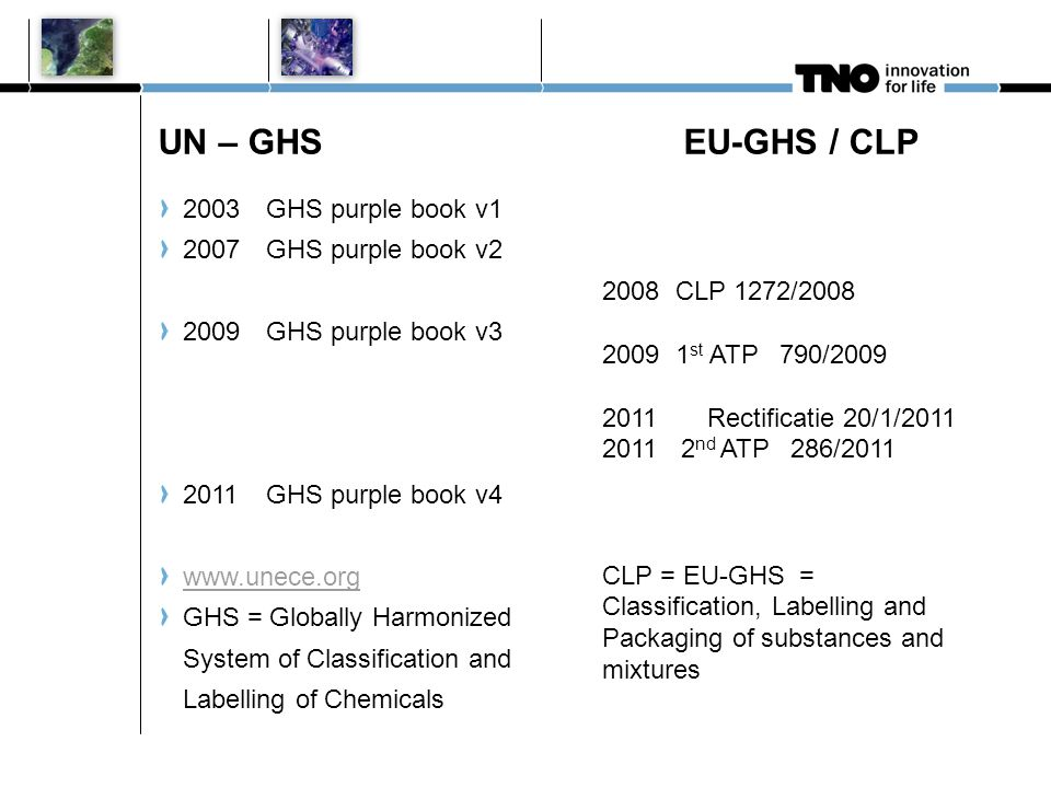 UN – GHS EU-GHS / CLP 2003 GHS purple book v1 2007 GHS purple book v2