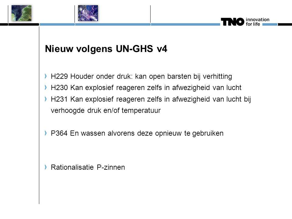 Nieuw volgens UN-GHS v4 H229 Houder onder druk: kan open barsten bij verhitting. H230 Kan explosief reageren zelfs in afwezigheid van lucht.