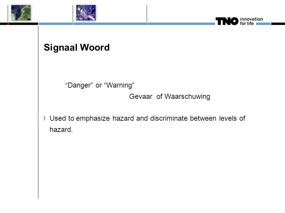 Signaal Woord Danger or Warning Gevaar of Waarschuwing