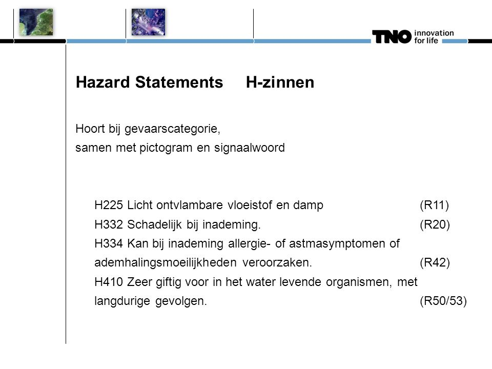 Hazard Statements H-zinnen