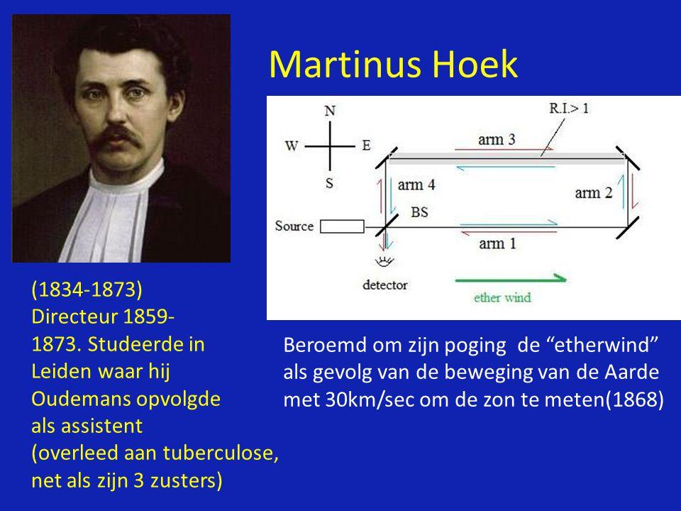 Martinus Hoek (1834-1873) Directeur 1859- Studeerde in Leiden waar hij