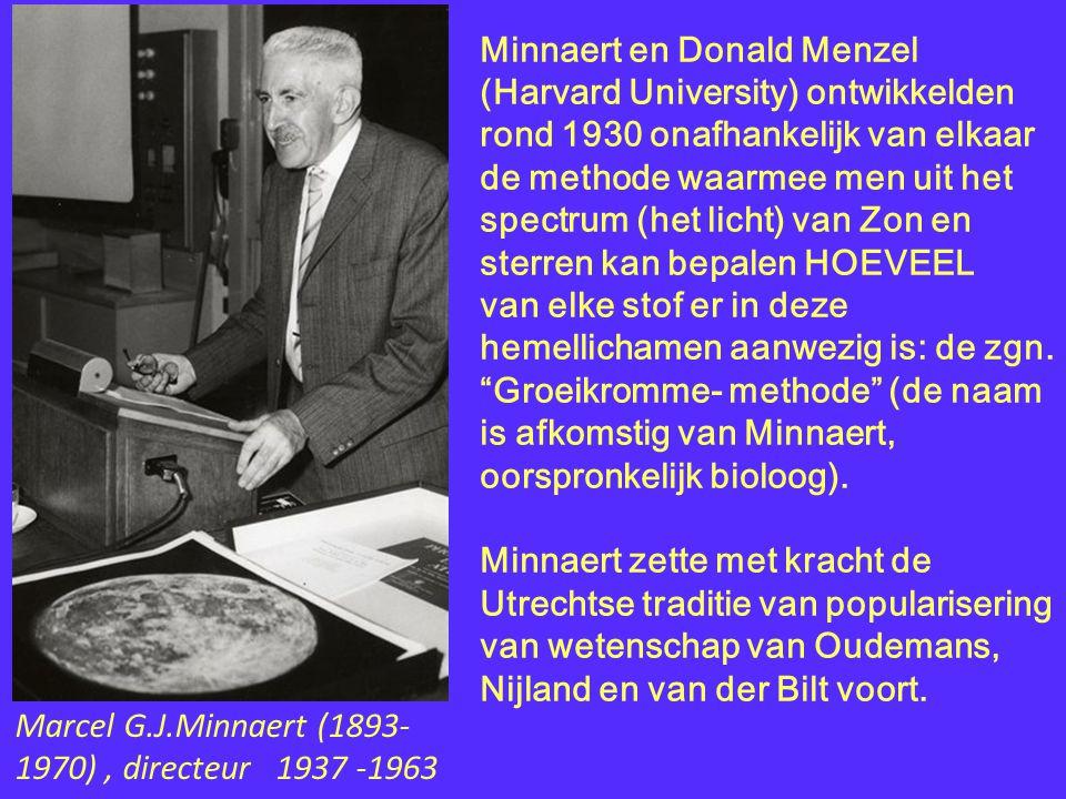 Minnaert en Donald Menzel (Harvard University) ontwikkelden rond 1930 onafhankelijk van elkaar de methode waarmee men uit het spectrum (het licht) van Zon en sterren kan bepalen HOEVEEL