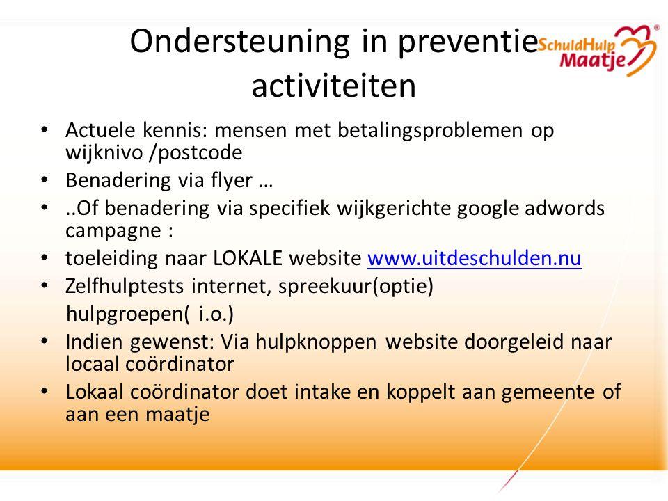 Ondersteuning in preventie activiteiten