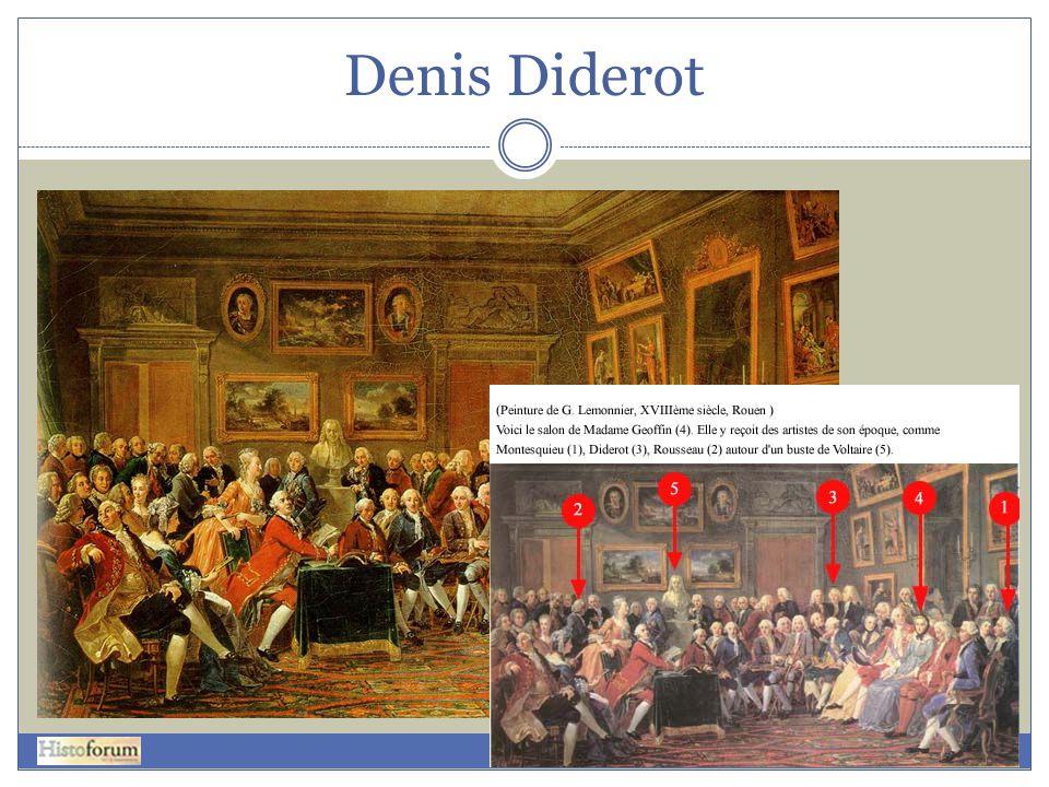 Denis Diderot 1= Montesquieu, 2= Rousseau, 3= Diderot, 4= Madam Geoffin, 5= buste van Voltaire.
