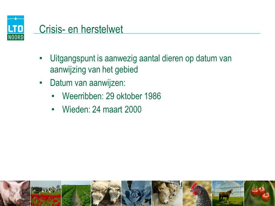 Crisis- en herstelwet Uitgangspunt is aanwezig aantal dieren op datum van aanwijzing van het gebied.