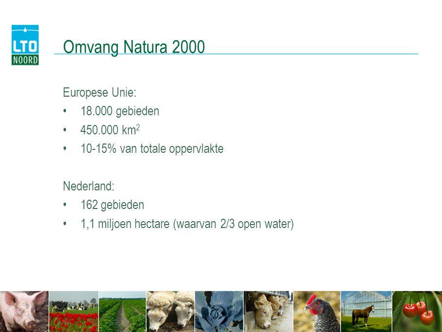 Omvang Natura 2000 Europese Unie: 18.000 gebieden 450.000 km2