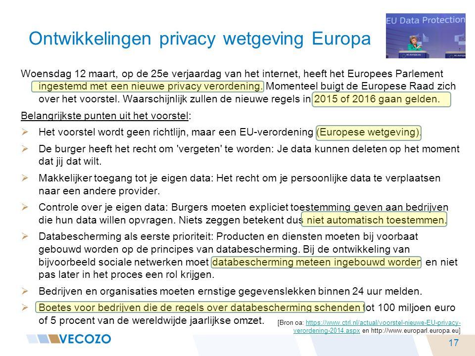 Ontwikkelingen privacy wetgeving Europa